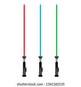 Light saber set red, blue, green star sword weapon futuristic fight war vector icon. Jedi hand scifi future color neon equipment