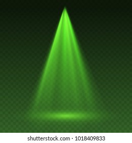 Light scanner or fantasy laser effect. Glowing stage light ray isolated on transparent background. Vector bright scene spotlight. Shine theatre projector green beam template for your creative design