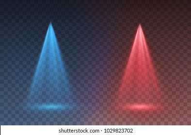 Light scanner or laser effect. Glow stage vs light rays isolated on transparent background. Vector red versus blue scene spotlights. Shine projector beam template for your battle, game creative design