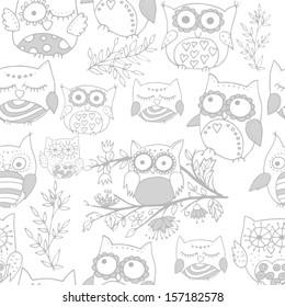 Light seamless cute owl pattern