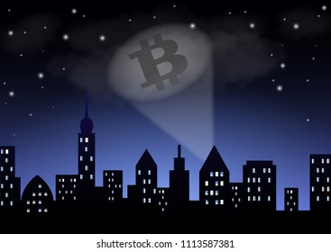 The light from the searchlight shows the crypto-currency bitcoin over the night city.