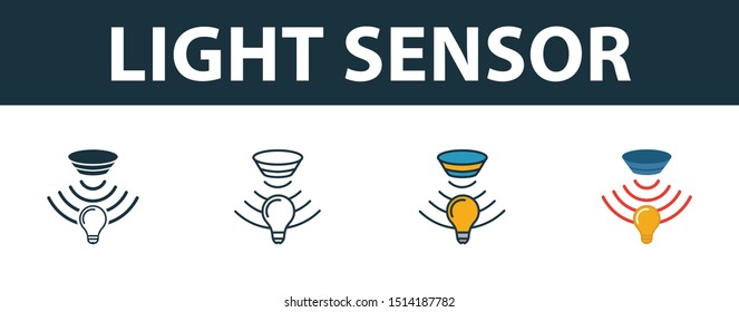 Light Sensor icon set. Premium simple element in different styles from sensors icons collection. Set of light sensor icon in filled, outline, colored and flat symbols concept.