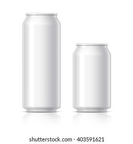 light and shiny aluminum cans for beer and soft drinks or energy. Packaging 500 and 330 ml. Object, shadow, and reflection on separate layers. Vector illustration