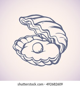 Light shiny gem ball perl in nacre scallop snail isolated on white backdrop. Freehand outline ink hand drawn picture sketchy in art scribble retro style pen on paper. Closeup view with space for text