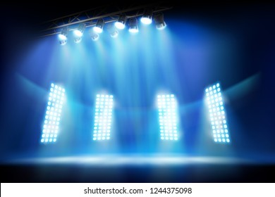 Light show on the stage. Place for the exhibition illuminated by floodlights. Vector illustration.