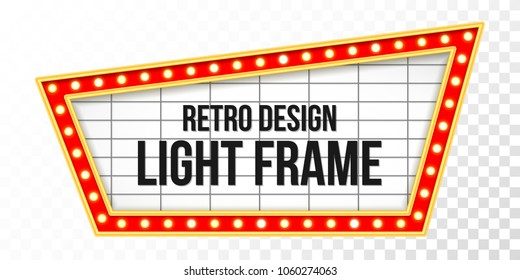 Light sign over transparent background. Retro banner with bulbs. Light banner, vintage billboard or bright signboard. Cinema or theater lightbox for ads. Illuminated marquee poster case or frame.