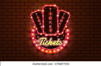 light sign ticket booth brickwall background vector illustration