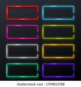 light signs set dark background
