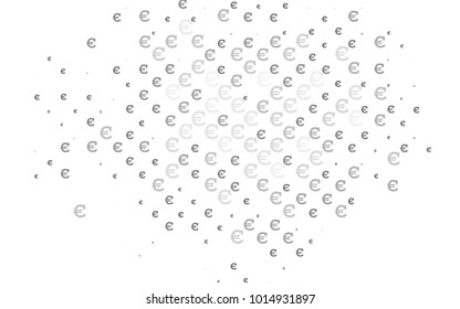 Light Silver, Gray vector cover with financial symbols. Shining illustration with signs of Euro on abstract template. Template can be used as a background for ads of markets, loans.