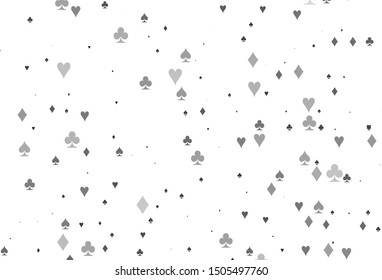 Light Silver, Gray vector pattern with symbol of cards. Glitter abstract sketch with isolated symbols of playing cards. Pattern for ads of parties, events in Vegas.