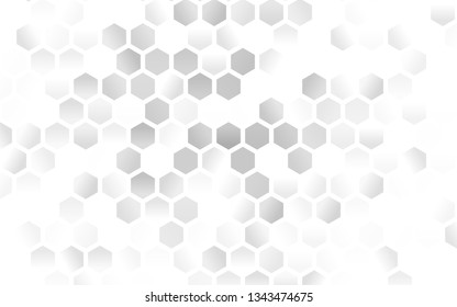 Light Silver, Gray vector template in hexagonal style. Illustration with set of colorful hexagons. Pattern for texture of wallpapers.