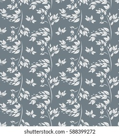 Light silvery foliage seamless pattern.