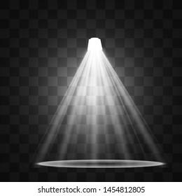 Light sources, concert lighting, spotlights. Concert spotlight with beam, illuminated spotlights for web design illustration.