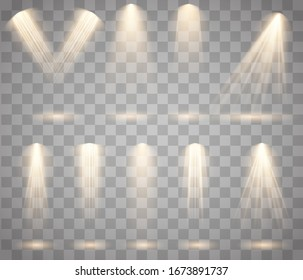 Light sources, concert lighting, stage spotlights set. Concert spotlight with beam, illuminated spotlights. Vector glowing light effect with gold rays and beams