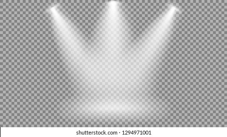light from a spotlight on the stage, the shine of a lamp or a spotlight, vector illustration of light indoors