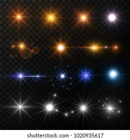 Light and stars shine lens flare sun beams glowing sparkles vector isolated gold and neon icons