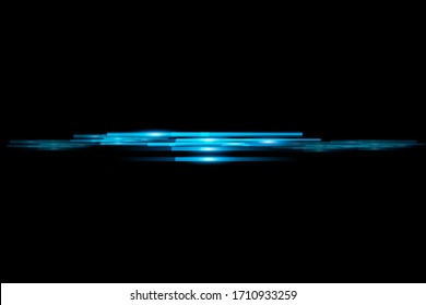 The light and the stripes move quickly on a black background. The light effect design Decorative elements Horizontal ray of light