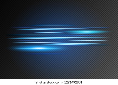 Light and stripes moving fast over dark background.design of the light effect. Vector blur in the light of radiance. Element of decor. Horizontal rays of light. - Vector