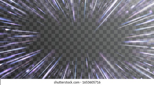 Light and stripes moving fast over dark background with ray sparkles. Design of star burst explosion frame on transparent background. Vector supersonic blur radiance. Hyperspace, warp jump effect.