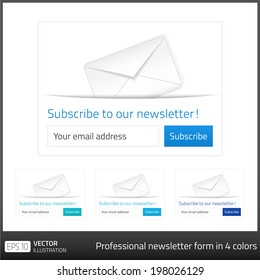 Light Subscribe to newsletter form with white background and button in 4 cold tones. Vector format