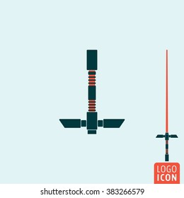 Light sword icon.Saber from wars of future icon isolated, weapon futuristic symbol minimal design. Vector illustration