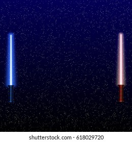 Light swords on Space Background. Vector illustration. Eps10. Lightsaber on The Night Sky. Starry way.