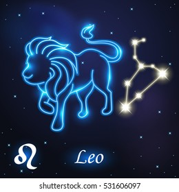 Light symbol of Lion to Leo of zodiac and horoscope concept, vector art and illustration.