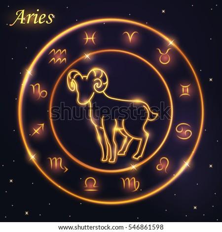 Light Symbol Sheep Aries Ram Zodiac Stock Vector Royalty Free