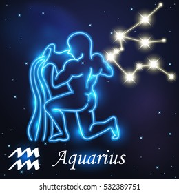Light symbol of water carrier to Aquarius of zodiac and horoscope concept, vector art and illustration.
