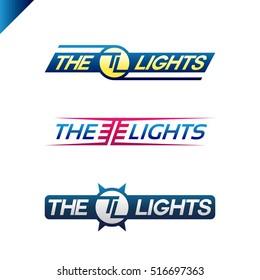 The Light text sport style emblem with TL letter logotype set. Sport text logo fot t-shirt