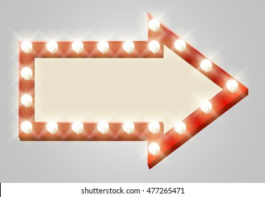 A light up theatre arrow sign