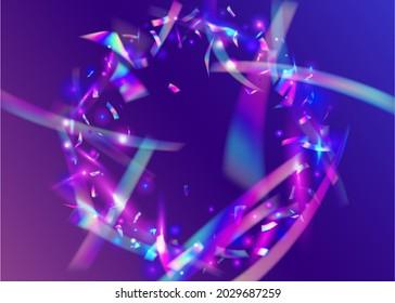 Light Tinsel. Glamour Art. Blue Laser Effect. Flying Foil. Holographic Glitter. Kaleidoscope Confetti. Shiny Design. Retro Christmas Sunlight. Purple Light Tinsel