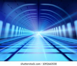 Light trails in long tunnel. Subway. Vector illustration.