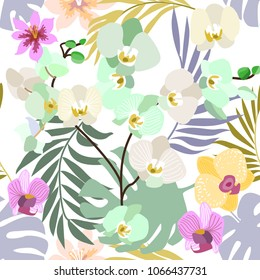 Light tropical background with white orchids and palm leaves. Seamless botanical pattern with aloha motifs. Trendy design for textile, cards and invitations.