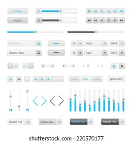 Light vector UI elements. Buttons, selectors, ckeckboxes, searchfield, slider etc. Set of website interface buttons.