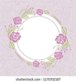 Light violet pattern with stylized wreath of roses for greeting card. Vector