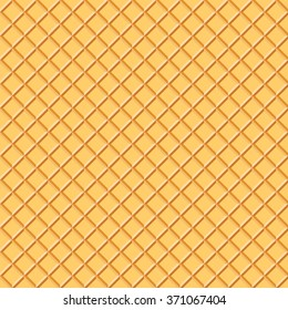 Light Waffle Texture. Vector Food Background. Ice Cream Wafer Cone Illustration.