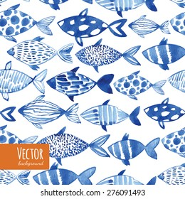 Light watercolor blue fishes on the black background. Seamlessly tiling fish pattern. Vector.