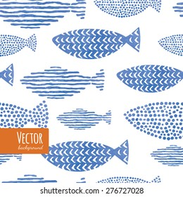 Light watercolor indigo blue fishes. Seamlessly tiling fish pattern. Vector.