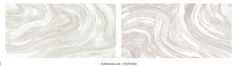 Light wavy paint strokes on canvas, hand drawn monochrome pattern. Clean white irregular brush strokes. Bright texture background set of vector illustrations
