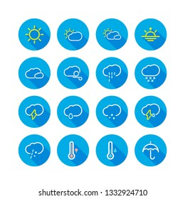 Light weather flat outline icon set long shadow