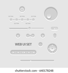 Light Web UI Elements. Buttons, Switches, bars, power buttons sliders Vector illustration