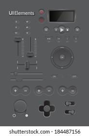 Light Web UI Elements Design Black. Elements: Buttons, Switchers, Slider, mix, equalizer