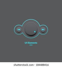 Light Web UI Elements Design Black. Elements: Buttons, Switchers, Slider, mix,
