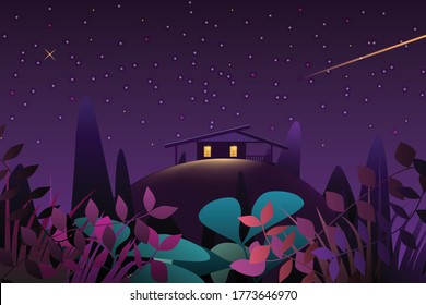The light from the windows of the little house or cabin located in the mountains is shining in the darkness of the forest with the stars. Fantasy Illustration Vector.