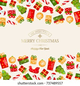Light winter holidays template with greeting golden inscription and colorful traditional Christmas symbols and elements vector illustration