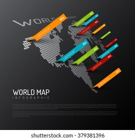 Light World map infographic template with pointer marks (diagonal on the dark wall version)