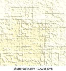 light yellow abstract 3D stucco structure pattern with soft engraved squared lines and white highlights, vector illustration