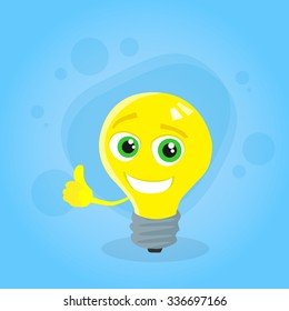 Light Yellow Bulb Thumb Up Hand Gesture Cartoon Character Concept Idea Smile Face Flat Vector Illustration