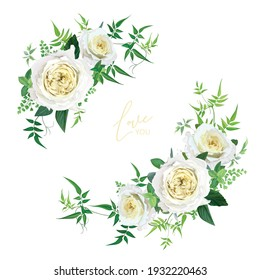 Light yellow and greenery floral editable bouquet set. Elegant cabbage rose flowers, maidenhair fern, vine green leaves, eucalyptus branches vector art illustration. Wedding invite, save the date card